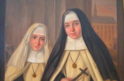 Sr. Mechtildis, geborene Maria Vossen (weißer Schleier, links) Sr. Gertrud geborene Emma Vossen (schwarzer Schleier, rechts)
